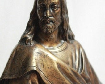 Beautiful French 19th Century Standing Jesus Christ Bronze Sculpture Over Black Marble Base !