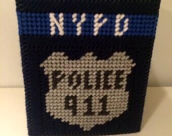 NYPD Tissue Box, Police Box Cover, Boutique Tissue Box, Police Home Decor, Police Box, Get Well Gift, Plastic Canvas, NYPD Cover, Custom Box