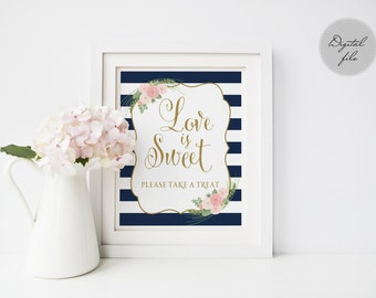 Printable wedding Love is sweet take a treat sign, Navy striped guest book sign printable,  Instant download, The Shirley collection