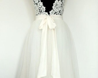 Wedding dress, lace and tulle skirt