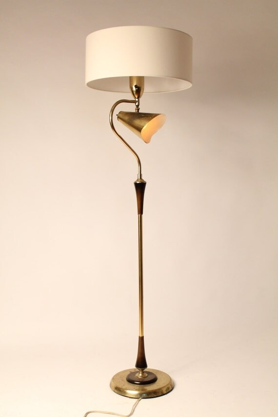 50s combo floor reading lamp brass plated wood vintage mid for Combination floor lamp and reading lamp