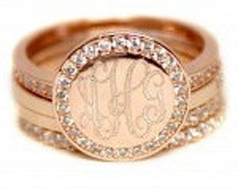 Monogram Ring, Rose Gold  Engraved Ring- Stackable Ring -Ring with Initials