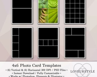 4x6 Photo Template Pack, 12 Photo Card Templates, Photo Collage, Christmas Card Templates, Photoshop, Personal and Commercial Use