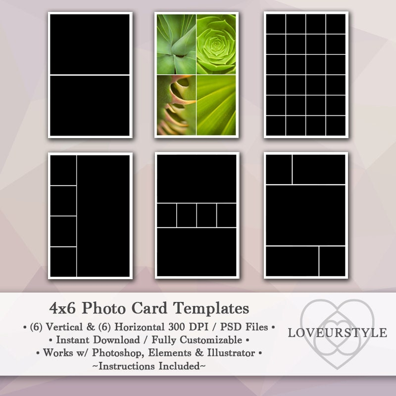 4x6 photo template pack 12 photo card templates photo. Black Bedroom Furniture Sets. Home Design Ideas