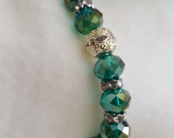 Green and Silver Beaded Stretch Bracelet