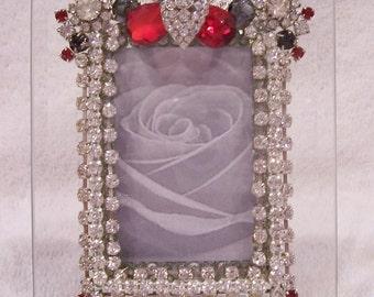 PRICE REDUCED! Jeweled, Rhinestone Beveled Glass Photo Frame.