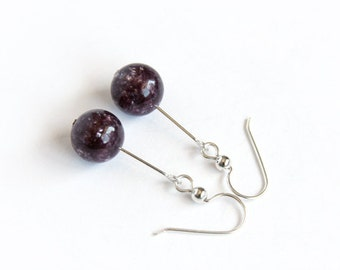 Lepidolite Earrings Sterling Silver Argentium Earwires Purple Natural Stone Round Bead Dangle Earring Berry Purple Plum Purple #16417