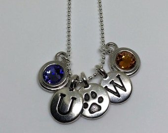 UW Husky Charm Necklace, Sterling Silver Bead Chain