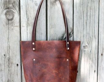 SMALL LEATHER TOTE | All Leather Tote Bag with Bridle Leather Straps | Lifetime Guarantee