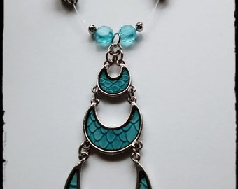 Turquoise color Triple Moon Necklace
