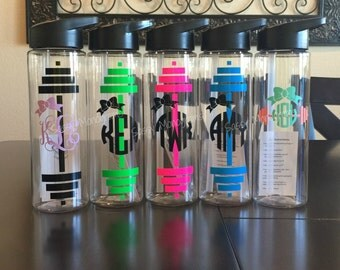 Personalized Monogrammed Barbell Bow 24oz Water Bottle ~ Workout ~ Fitness  W24BB
