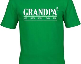 Grandpa T Shirt With kids Names ,Custom granfather T Shirt, Birthday gift T shirt, tee shirt, T Shirt, father's day gift, fathers day, top