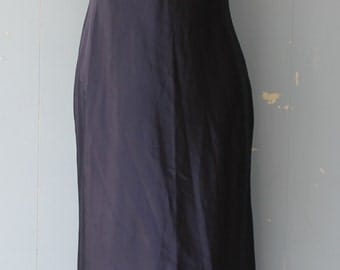 Vintage Slip Dress/90s/Boho/Satin/Midnight Blue/
