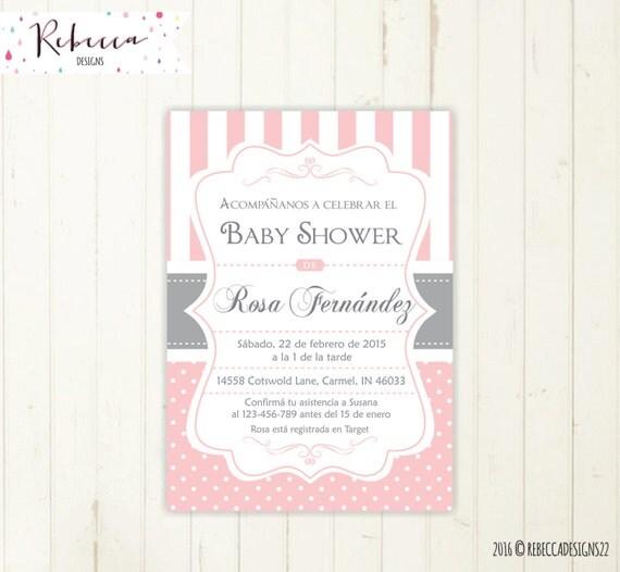 spanish baby shower invitation girl baby shower in spanish, Baby shower invitations