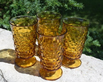 Amber Indiana Glass Whitehall Pattern Water Glasses Wedding Vases Set of 4
