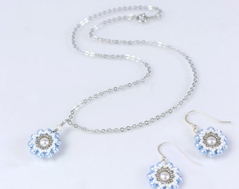 Pearl necklace and earring set, blue pearl earrings, flower elegant necklace, bridal party jewelry, delicate necklace, easter gift, 150-338