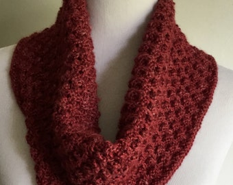 Hand knit red cowl, ready to ship infinity scarf, alpaca blend hand knit cowl.