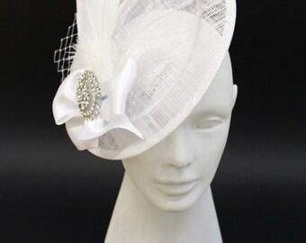 Wedding Fascinator, Bridal Head Piece, Feather Fascinator, Wedding Hair Accessory, Wedding hat - Victorian Gothic Jewelry