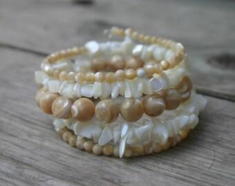 Mother of Pearl Beach Bracelet, Beige and Cream Memory Wire Bracelet, Multi-Coil Shell Bracelet