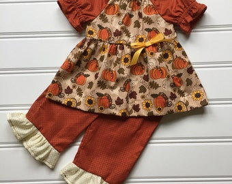 Fall Outfit for Girl, Girl Ruffle Pants, Thanksgiving Outfit for Baby Girl, Toddler Fall Outfit, Little Girl Outfit, Toddler Girl Clothes