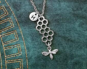 Honeycomb Necklace Honeycomb Jewelry Honey Bee Necklace Bee Jewelry Honeybee Necklace Charm Necklace Pendant Necklace Personalized Jewelry