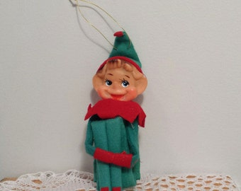 Knee Hugger Elf vintage Christmas Ornament, Green-Blue and Red Pixie Elf Decoration, made in Japan