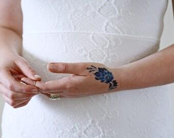 Delft Blue flower temporary tattoo / delft blue temporary tattoo / something blue wedding / floral temporary tattoo / festival accessoire