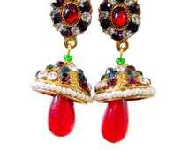 Earrings Handmade Jhumki Maroon & Green with Pearls, Bead, and Gemstones Work-Rajasthani Kundan Jewelry from West India-Indian Handicraf