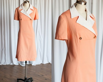 Dreamsicle dress | vintage 1970s dress | knit 70s shift | orange / white 70s dress | wide collar doublebreasted | vintage 1970s dress