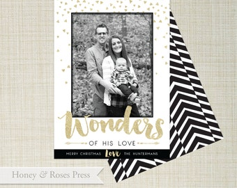 Wonder of His Love Christmas Photo Card  .   Family Photo Card  .  Black & Gold Christmas Card  .  Printable Card