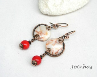 Copper Earrings, Wire Wrapped Jewelry, Wire Jewelry, Copper Jewelry, Wire Wrapped Earrings, Copper Wire Jewelry, Natural Stone Earrings