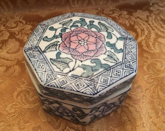 Cobalt Blue on White Porcelain Trinket Box, Geometric Floral Design, Pink Floral Center , Octagonal Trinket Box, Treasure Box, Jewelry Box