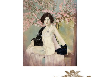 Evelyn and her beloved,  1920's inspired, black cat, woman and cat, cherry blossom, gilt mirror, spring, WickedlyLovely  blank Greeting Card