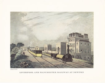 vintage steam train Liverpool and Manchester Railway at Newton print illustration home office décor 9.5 x 7 inches