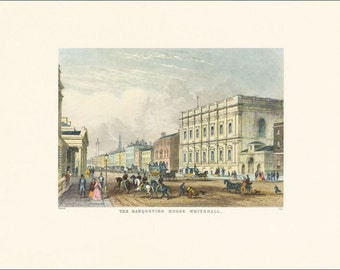 Victorian London Banqueting House Whitehall vintage print coloured engraving 7 x 9.25 inches