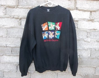 Vintage Sweatshirt Wile E Coyote WB Comics Faded Black sz fits Large 1990s Cartoon Character Hard to Find Unique Gift