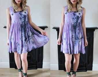 20% OFF Vintage Tie Dye Purple Beach Dress