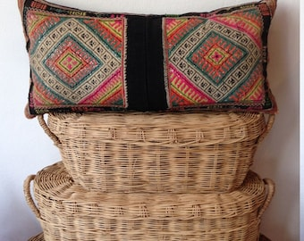 "12"" x 24"" Vintage Hilltribe Handmade hand stitch Ethnic Boho Cushion Cover"