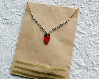 Petite Strawberry Swing Necklace