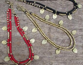 Beaded Black Anklet, Ankel Bracelet, Black Anklet, Red Anklet, Beaded Anklet, Tribal Anklet, Anklet, Tribal, Tribal Jewelry