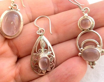 10 different Pink Rose Quartz Earrings. Sterling Silver.  free US ship