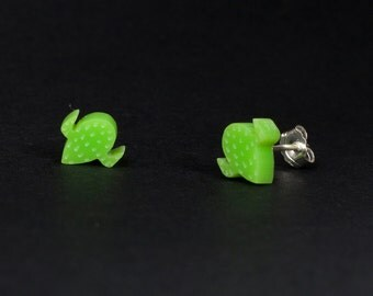 Cactus Earrings - Laser Cut Lime Green Acrylic Charm and Sterling Silver Backs