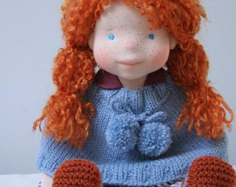 Felicity 17inch waldorf inspired doll,waldorf doll,steiner doll,cloth doll,natural fiber doll