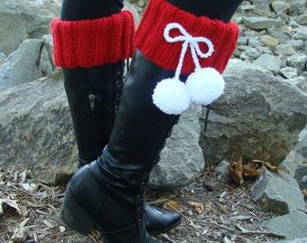 PATTERN #134: Knit Santa Boot Cuffs with Pom-poms, Santa Boot Cuff Pattern, Incl 3 Sizes, Teen-Adult - PDF Digital File/Pattern