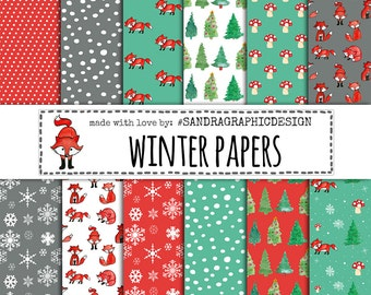 Winter digital paper, winter patterns, fox digital paper, snowflake digital paper in winter colors (1278)