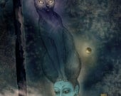 Print on deep edge canvas, quality digital reproduction of original artwork, portrait of Goddess Bastet with cat, navy starry night sky, cat