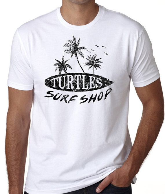Turtles surf shop beach t shirt great screen printed shirt for Surf shop tee shirts