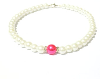 White and pink pearl necklace, white pearl necklace, pink pearl necklace, beaded necklace, bridesmaid necklace, bridal necklace