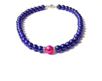 Pink and blue pearl necklace, blue necklace, pink necklace, blue pearl necklace, beaded necklace,bridesmaid necklace