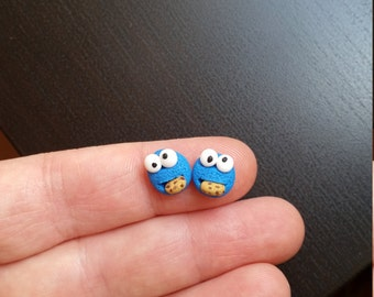 Cookie monster stud or magnetic  earrings. Hight Quality ,hypoallergenic studio.  Kawaii. Clay. Geekery jewelry. Geek blue earrings.